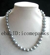 "wholesale  freshwater pearl gray A round 10-11mm necklace 18"" beads nature"