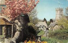B88215 thatched cottages and church godshill i w  uk 14x9cm