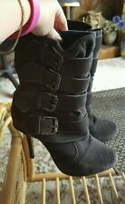 River island stiletto heeled buckle boots size 5 black grey suede