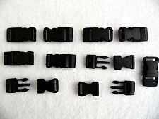 25 x Black Plastic Quick Release Buckle fastenings,webbing,paracord etc.