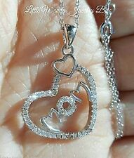 Pure Solid 925 Sterling Silver CZ MOM Pendant Charm Necklace Boxed Gift Set 20""