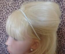 NEW IVORY FAUX PEARL BEAD ALICE BAND HAIR BAND GLAMOUR HEADBAND BRIDAL WEDDING