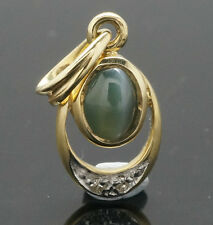9carat GIALLO ORO ALEXANDRITE Cats Eye (0,35 CT) & DIAMOND CIONDOLO 7X11mm