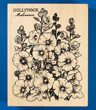 PSX K-2201 Hollyhock Botanical Rubber Stamp Beautiful Tall Flower Spikes Mallow