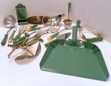 LOT VINTAGE GREEN WOOD HANDLE KITCHEN UTENSILS -SEE ALL PICTURES FOR ALL ITEMS