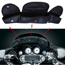 Windshield Saddle Pouch 3 Pocket Bag Fit Harley Davidson Electra Street Glide