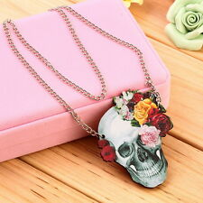 Flower Rose Skull Skeleton Wood Acrylic Pendant  Chain Necklace Jewelry Gift UR