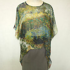 NEW NWT Cocoon House Woodland Art Sheer 100% Silk Pointed Blouse Top Large / XL