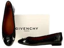 NEW GIVENCHY PARIS BLACK PATENT LEATHER STAR EMBROIDER BALLET FLATS SHOES 40