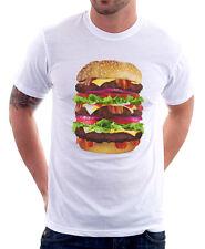 Hamburger Cheeseburger Funny Food Big Mac Cool printed cotton t-shirt 9752