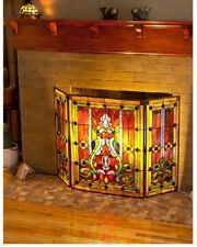 Decorative Fireplace Screen Three Panel Stained Glass Multi-Color 28 inch Fleur