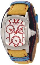 New Invicta Women's 12273 Lupah Silver Dial Yellow and Dark Blue Canvas Watch