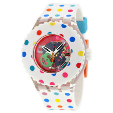 Swatch Happy Dots Transparent Dial White Silicone Ladies Watch SUUK108