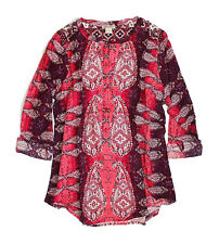 Lucky Brand - NWT - XL - Tonal Red Regal Paisley Long Sleeve Split Neck Tunic