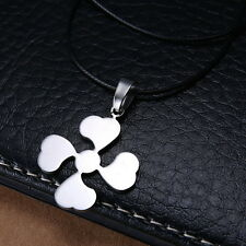 Mens Unisex Stainless Steel Leather Necklace Lucky Leaf Good Luck Trebol L38
