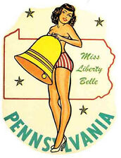 Pennsylvania   Pin-Up Girl    Vintage-1950's Style  Travel Decal/Sticker