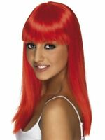 New Womens Girl Red Glamour Wig Sexy Valentines Day Party Fancy Dress Accessory