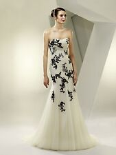 Enzoani Beautiful BT14-22 wedding dress ivory/black size 8-10 with handmade veil