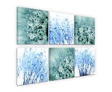 6x30x30cm Leinwandbilder Morgentau Wassertropfen Blumen Blau Türkis Sinus Art