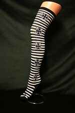 IRON CROSS ON BLACK & WHITE STRIPE OVER THE KNEE HIGH COTTON SOCKS