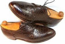 NETTLETON GENUINE ALLIGATOR CROCODILE BROWN OXFORDS 10 C  Excellent Condition