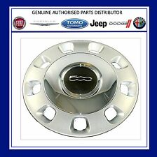 New Fiat 500 Silver / Vintage Chrome Centre Genuine Wheel Trim Set x 4 71804112