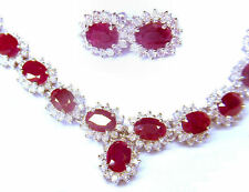 38.40ct Ruby & Diamond Necklace & Earrings Set in 14K White Gold