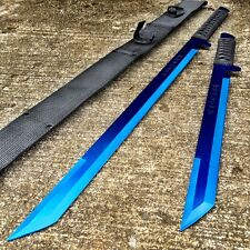 "27"" & 18"" BLUE 2 Pc Set Dual Destroyer Twin Ninja Machete Tactical Sword Knife"