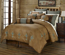 Turquoise Cross - Western - 6 Piece Super King Size Comforter Bedding Set