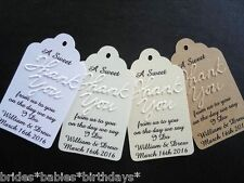 10 Kraft White Gift Tags Wedding Favour Bomboniere Personalised Embossed A Sweet