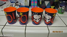 "SNOOPY HALLOWEEN CUPS SET OF 4 SNOOPY ""BOO"" ORANGE VERY CUTE NEW"