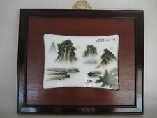 Vintage Chinese Art Porcelain Tile Painting Famille Rose Fencai Wood Framed