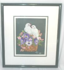 Framed Crewel Work & Needlepoint Background 2 Birds Pansies Woven Basket 0011010