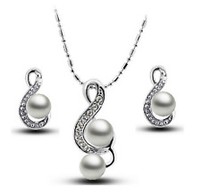 Joovaa Silver 18K White Gold Plated Austrian Crystal Pearl Pendant Earring Set