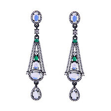 ELEGANT ANTHROPOLOGIE 3'' OPAL WHITE GREEN CLEAR STONES DROP DANGLE EARRINGS NEW