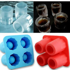 Silicone 4-Cup Shaped Ice Cube Shot Glass Freeze Mold Maker Tray Bar Drink