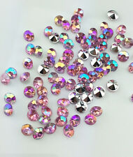 DIY 200pcs 5mm Pink AB Resin Crystal beads Point back Rhinestones Strass NEW  E3