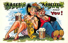 Comic postcard sexy girl, A Beer A Pretzel And You! romantic couple