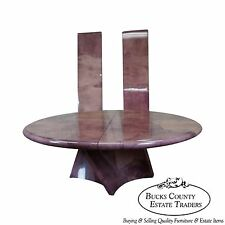 Karl Springer Genuine Goatskin Large Round Pedestal Extension Dining Table