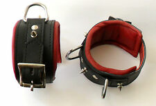 2 HEAVY DUTY BLACK & RED LEATHER LOCKING ANKLE RESTRAINTS  Bondage Cuffs