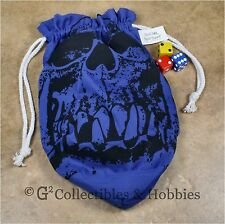 NEW Extra Large Blue Orc Skull Dice Bag RPG Game Gaming D&D Crystal Caste