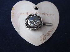 BRIGHTON Mini Hair Clip HC160 Silver Smiling Sun ~ VINTAGE NEW on Card