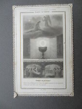ANTIQUE Paper Lace Holy Prayer Card  French Angel Engraving Religious Letaille
