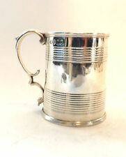 Mug Classic Adams Ribbed Georgian Solid Sterling SIlver J Angell London 1838