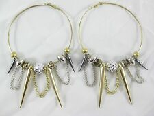 New Large Paparazzi Basketball Wives Style Hoop Spike Earrings #E1160