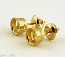 1CT TW BEZEL STUD EARRINGS MOUNTING 14K YELLOW GOLD 1/2CT EACH NEW