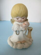 BAPTISM FIGURINE, ANGEL ON CLOUD,HOLDS BABY NEAR BAPTISM FONT, BAPTISM QUOTE, VG