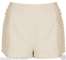 Topshop Intricate Pleat Side Tailored Short Shorts 12 40 in 'Nude' (Cream/Beige)