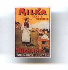 Milka ( brand of chocolate ) old poster pin Cow Food advertising badge