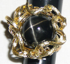 Huge Black Star Diopside ring 14 Karat gold and 22 Karat stone, size 7